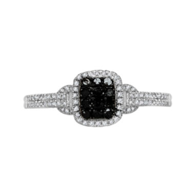 jcpenney.com | LIMITED QUANTITIES 1/4 CT. T.W. White and Color-Enhanced Black Diamond Square Ring