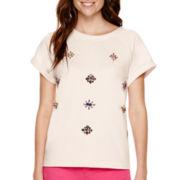 Stylus™ Short-Sleeve Embellished Sweatshirt - Tall