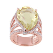 Genuine Yellow Quartz and White Topaz Ring