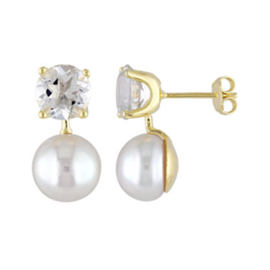 jcpenney.com | Genuine Green Quartz and Cultured Freshwater Pearl Earrings