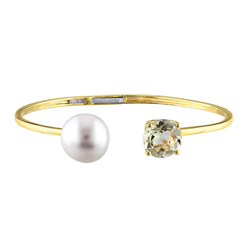 Genuine Yellow Quartz and Cultured Freshwater Pearl Bangle Bracelet