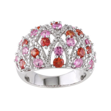 jcpenney.com | Genuine Pink and Orange Sapphire and 1/10 CT. T.W. Diamond Ring