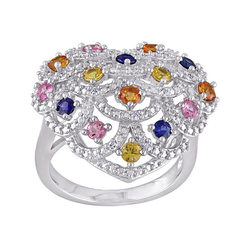 Multicolor Genuine Sapphire and Diamond-Accent Ring