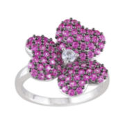 Lab-Created Pink and White Sapphire Flower Ring