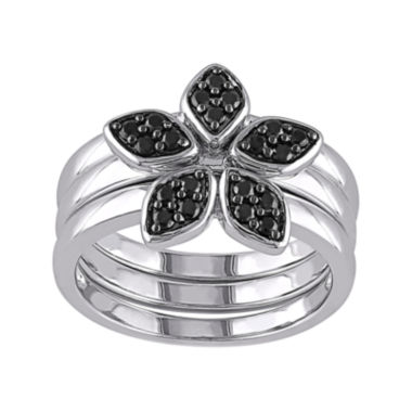 jcpenney.com | Genuine Black Spinel 3-pc. Sterling Silver Ring Set