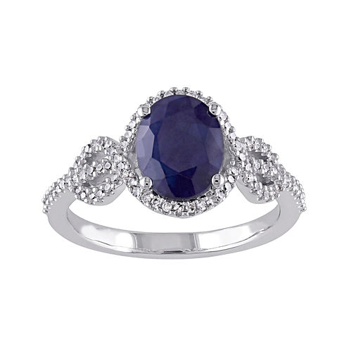 Genuine Sapphire and 1/4 CT. T.W. Diamond Ring