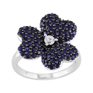 jcpenney.com | Lab-Created Blue and White Sapphire Heart-Shaped Flower Ring