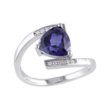 jcpenney.com | Lab-Created Blue Sapphire and Diamond-Accent Sterling Silver Bypass Ring
