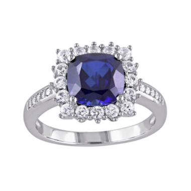 jcpenney.com | Lab-Created Blue Sapphire and Diamond-Accent Sterling Silver Ring