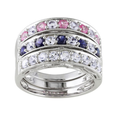 jcpenney.com | Lab-Created Blue, Pink and White Sapphire 3-pc. Sterling Silver Ring Set