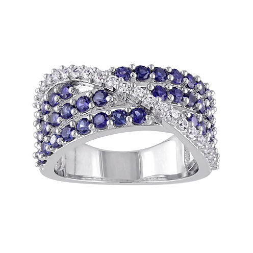 Lab-Created Blue and White Sapphire Crossover Ring