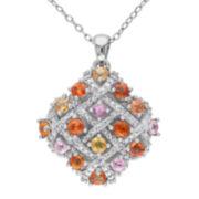 Multicolor Genuine Sapphire and Diamond-Accent Pendant Necklace