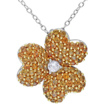 jcpenney.com | Lab-Created Yellow and White Sapphire Heart-Shaped Flower Pendant Necklace