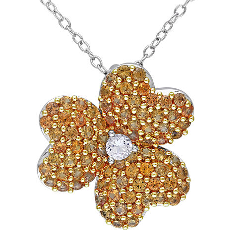 Lab-Created Yellow and White Sapphire Heart-Shaped Flower Pendant Necklace