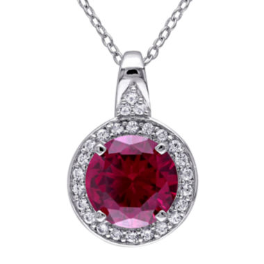 jcpenney.com | Lab-Created Ruby and White Sapphire Sterling Silver Pendant Necklace