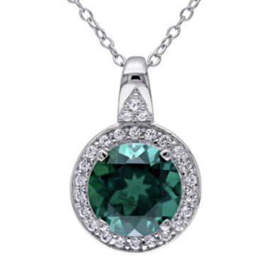 jcpenney.com | Lab-Created Emerald and White Sapphire Sterling Silver Pendant Necklace