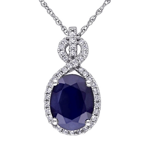 Genuine Sapphire and 1/6 CT. T.W. Diamond Pendant Necklace