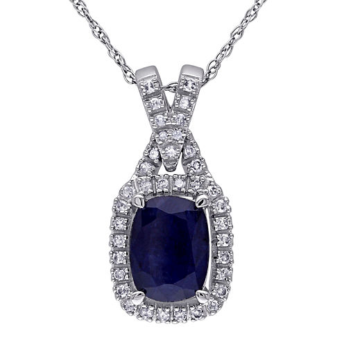 Genuine Sapphire and 1/7 CT. T.W. Diamond Pendant Necklace