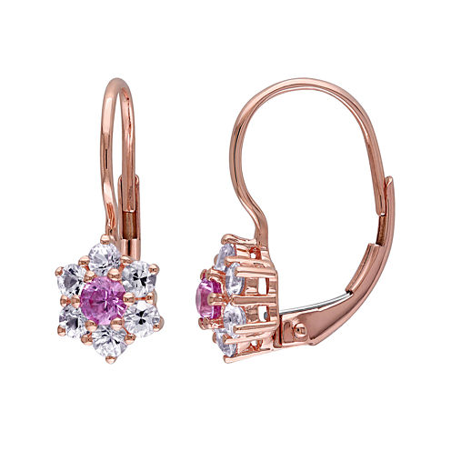 Genuine Pink and White Sapphire Earrings