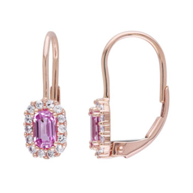 jcpenney.com | Genuine Pink and White Sapphire Halo Leverback Drop Earrings