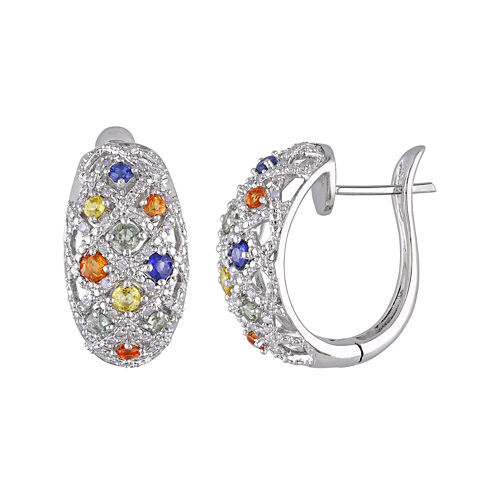 Multi-Gemstone and 1/4 CT. T.W. Diamond 22.4mm Sterling Silver Hoop Earrings