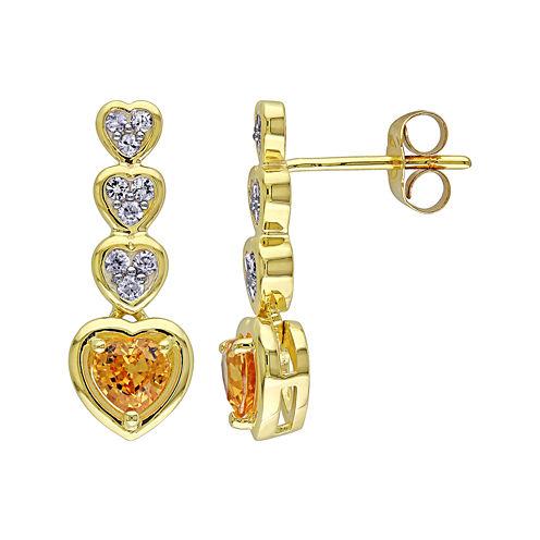 Genuine Yellow and White Sapphire Heart-Shaped Drop Earrings