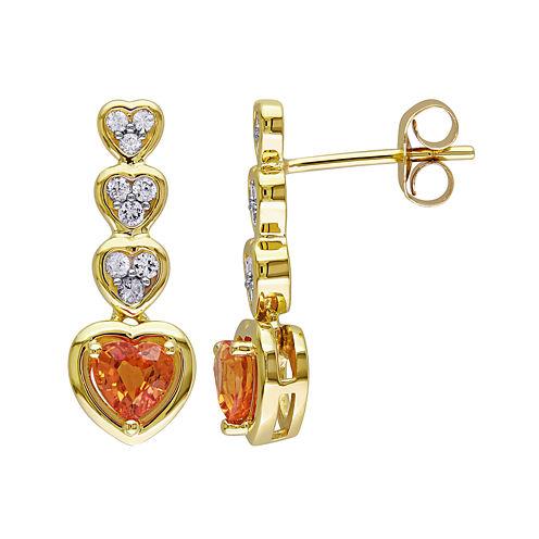 Genuine Orange and White Sapphire Heart-Shaped Drop Earrings