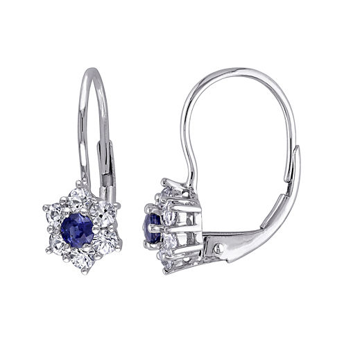 Genuine Blue and White Sapphire Earrings