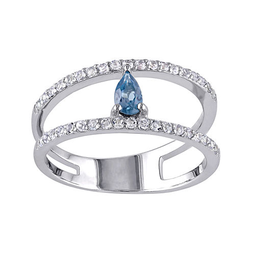 Genuine Blue and White Topaz Split Band Ring
