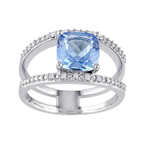 Genuine Swiss Blue Topaz and Diamond-Accent Split Band Ring