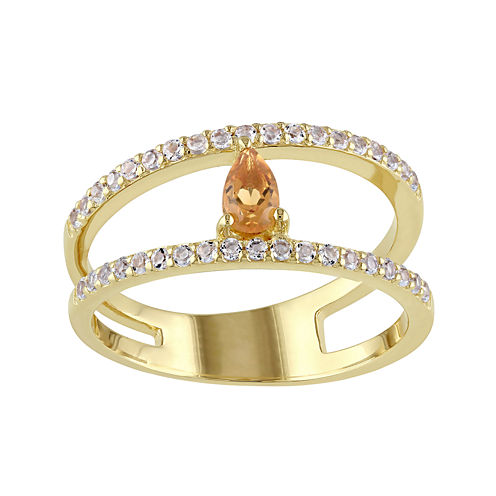 Genuine Citrine and White Topaz Split-Band Ring