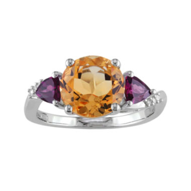 jcpenney.com | Genuine Citrine, Rhodolite and Diamond-Accent Sterling Silver Ring