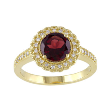jcpenney.com | Genuine Garnet and 1/7 CT. T.W. Diamond Ring