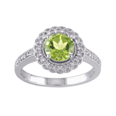 jcpenney.com | Genuine Peridot and 1/7 CT. T.W. Diamond Ring