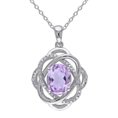 jcpenney.com | Genuine Amethyst and 1/10 CT. T.W. Diamond Drop Pendant Necklace
