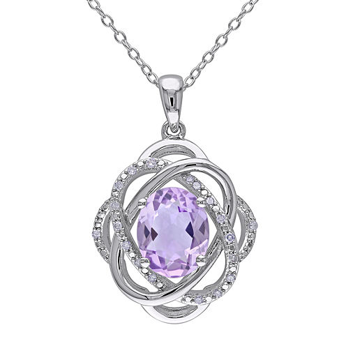 Genuine Amethyst and 1/10 CT. T.W. Diamond Drop Pendant Necklace