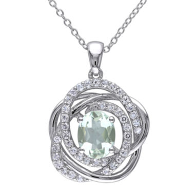 jcpenney.com | Genuine Green Amethyst and White Topaz Pendant Necklace