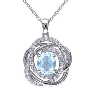 jcpenney.com | Genuine Sky Blue and White Topaz Pendant Necklace