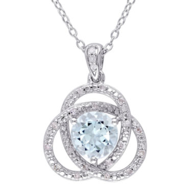 jcpenney.com | Genuine Sky Blue Topaz and 1/10 CT. T.W. Diamond Pendant Necklace