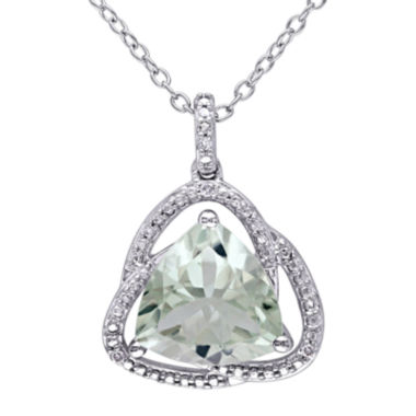 jcpenney.com | Genuine Green Amethyst and Diamond–Accent Pendant Necklace