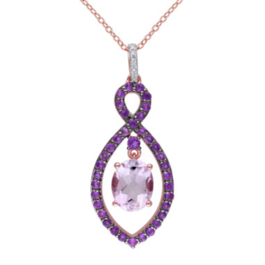 jcpenney.com | Genuine Rose de France, Amethyst and Diamond-Accent Pendant Necklace