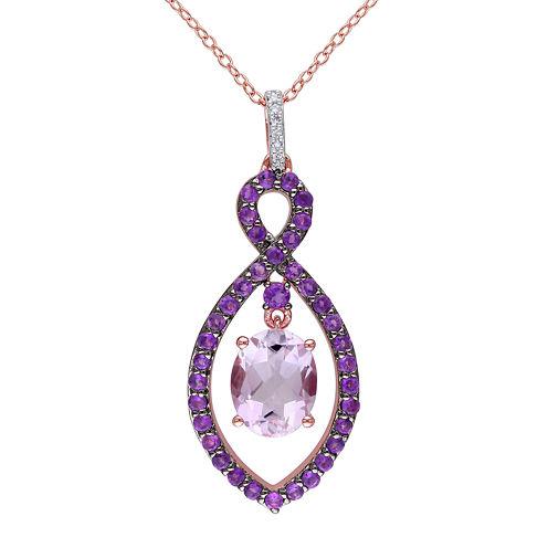 Genuine Rose de France, Amethyst and Diamond-Accent Pendant Necklace
