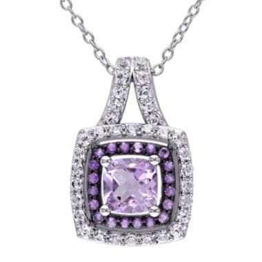 jcpenney.com | Genuine Rose de France, Amethyst and Lab-Created White Sapphire Pendant Necklace