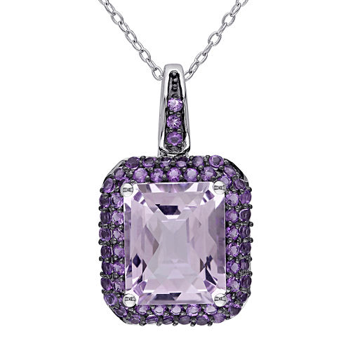 Genuine Rose de France and Amethyst Pendant Necklace