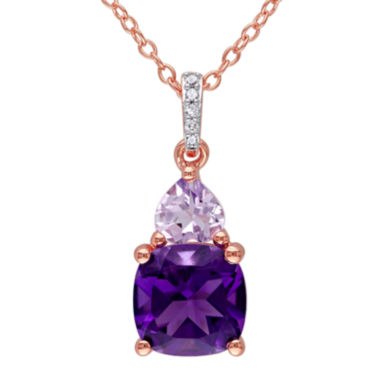 jcpenney.com | Genuine Amethyst, Rose de France and Diamond-Accent Rose Gold Over Silver Pendant Necklace