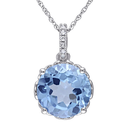 Genuine Blue Topaz and Diamond-Accent 10K White Gold Pendant Necklace