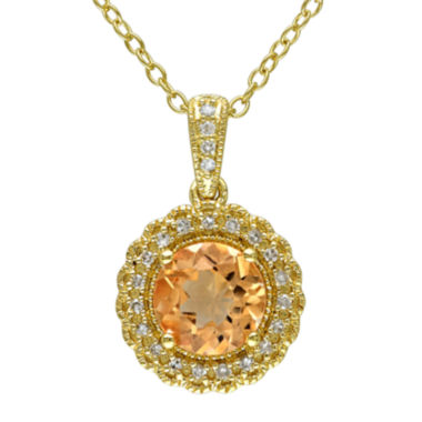 jcpenney.com | Genuine Citrine and 1/10 CT. T.W. Diamond Pendant Necklace
