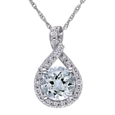jcpenney.com | Genuine Aquamarine and 1/5 CT. T.W. Diamond Criss-Cross Pendant Necklace