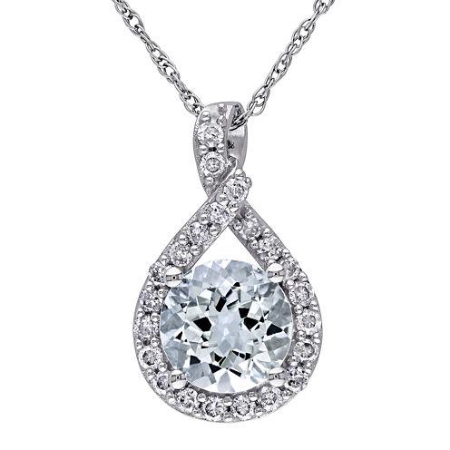 Genuine Aquamarine and 1/5 CT. T.W. Diamond Criss-Cross Pendant Necklace