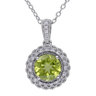 jcpenney.com | Genuine Peridot and 1/10 CT. T.W. Diamond Pendant Necklace